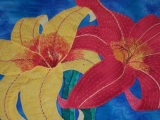 Art Quilt Wall Hanging - Day Lilies